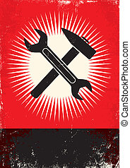 wrench and hammer - Red and black poster with wrench and...