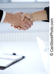 Handshake to seal a deal - with bright office in the...