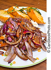 Beef steak with red onion - Delicious steak with red onion