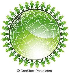 Community Green Globe - Children around a green wire frame...
