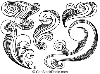 Cloud Wind Element - Set of five black and white hand drawn...