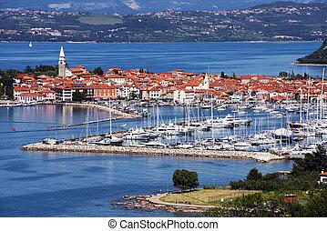 Izola - Beautiful coast town Izola - Slovenia from above