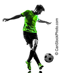 soccer football player young man dribbling silhouette - one...