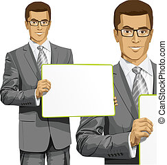 Vector Business Man with Empty Write Board - Idea concept...
