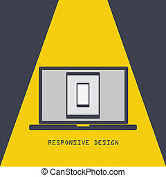 Responsive design. Technology laptop tablet smartphone