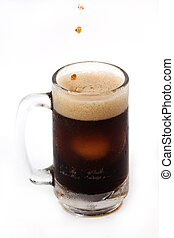 root beer in a large mug isolated on white background