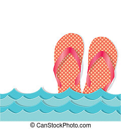 Ocean waves with flip flops or sandals, transparent...