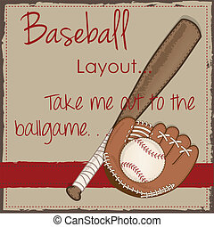 Vintage baseball, glove or mitt and wooden bat layout for...