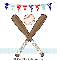 Baseball and bat with american patriotic banners and frame