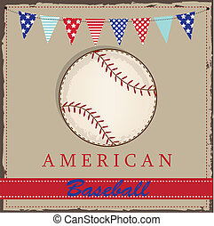 Vintage baseball layout with american patriotic flags or bunting, for scrabooking or cards, vector format.