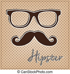 Eye glasses and mustache, vintage or retro hipster elements...