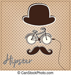 Man made of hipster elements, bicycle, bowler hat and...