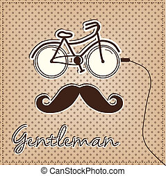man made of bicycle and mustache - Retro or vintage man made...