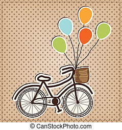 Retro or vintage bicycle with balloons tied to handles, on a...