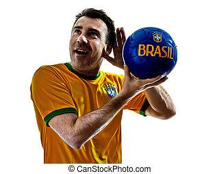 man Brazilian Brazil listening to soccer ball