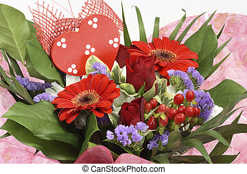 Flowers for valentines day - Closeup of a flower arrangement...