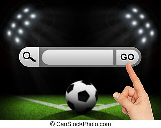 Human hand indicates the search bar in browser Soccer...