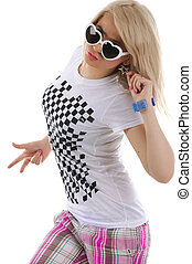 Woman is dancing hip-hop Studio isolated