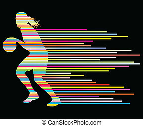 Woman basketball player vector background concept made of...