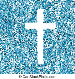 Cross vector background concept made of fragments cloud for...