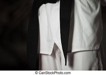 Man Wearing A Black Belt - Man In A White Kimono And Belt...