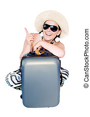 woman going on vacation with suitcase over white