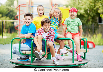 Entertainment for kids - Image of joyful friends having fun...