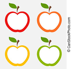 Apple labels in various colors. Vector illustration