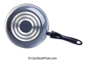 back side of black frying pan isolated on white background