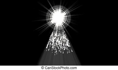 falling particles from halo tunnel,Chris pyramid beam & rays laser light.