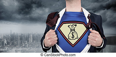 Composite image of businessman open - Businessman opening...