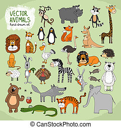 Hand-drawn vector wild animals collection - Hand-drawn...