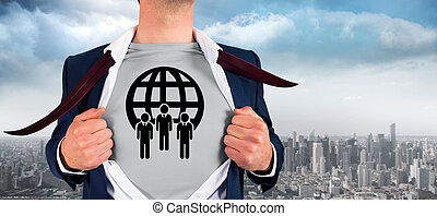 Composite image of businessman opening shirt in superhero...