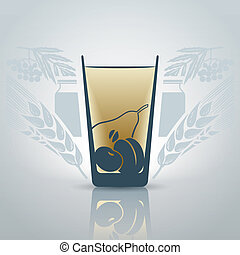 Glass of juice - Stylized glass of juice with decorative...