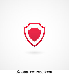 protection icon - vector red shield or protection icon on...