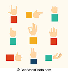Hands gestures icons - hands and fingers gestures, vector...
