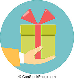 hand holding green gift box - Isolated round flat icon of a...