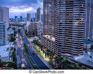 Ala Moana Boulevard in Waikiki facing in a northerly...