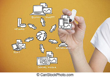 Composite image of businesswoman writing doodle -...