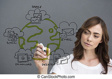 Composite image of businesswoman writing doodle
