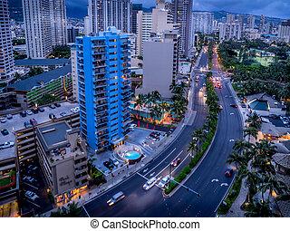 Ala Moana Boulevard in Waikiki facing in a southerly...