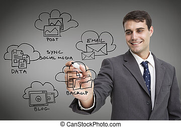 Composite image of businessman writing doodle