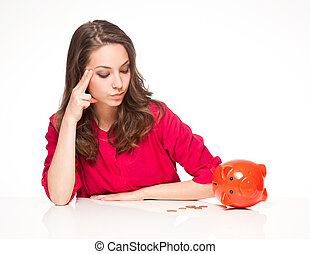 Your savings. - Portrait of a brunette beauty posing with...