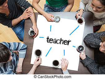 The word teacher on page with people sitting around table...