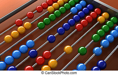 Abacus - 3d render of an abacus with colorful balls