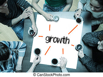 Growth on page with people sitting around table drinking...