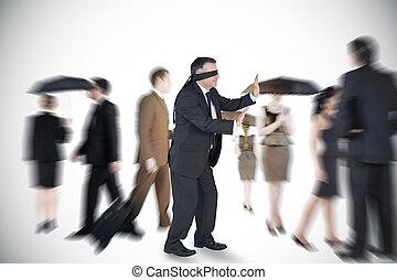 Composite image of mature businessm - Mature businessman in...