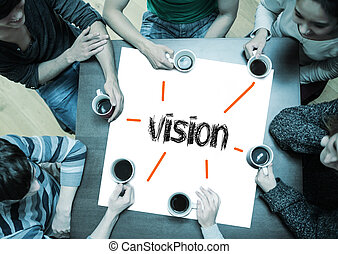 Vision on page with people sitting around table drinking...
