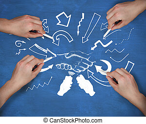 Composite image of multiple hands drawing handshake with chalk