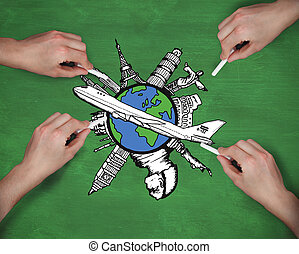 Composite image of multiple hands drawing airplane with chalk